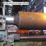 In situ cutting on sugar mill roll